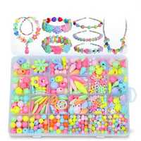 Pop-Arty DIY Beads Girl Necklace Bracelet Jewelry Set With Box Snap-Together Pop Jigsaw Puzzle Toy Gift