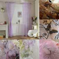 Butterfly Print Flocking Tulle Window Sheer Curtains Balcony Bedroom Bay Window Screen
