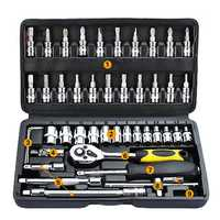 46Pcs Tool Box Car Motorcycle Repair Set Hand Tool Home Service DIY Kit Socket Head Wrench