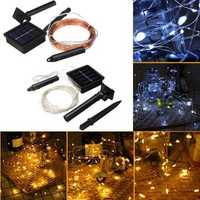 Solar Powered 100 LED Christmas Tree Fairy String Wedding Party Light Warm White Pure White Lamp