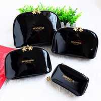 Women PVC Black Cosmetic Bag Casual Travel Clutch Bag