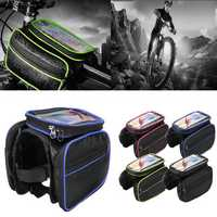 BIKIGHT Bike Bicycle Front Frame Tube Phone Bag Touch Screen Waterproof Double Pouch Cycling Bag