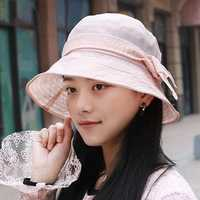 Women Polyester Breathable UV Protection Bucket Cap