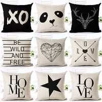 Various Style Pillows Cushion For Home Sofa Car Office Star Panda Printed Cotton Linen Pillowcase