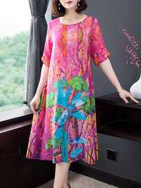 Vintage Floral Print Silk Dress