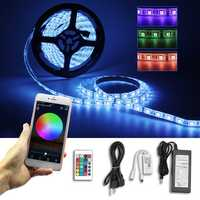 2PCS 5M 5050 SMD RGB Waterproof LED Strip Lights + Wifi Alexa Amazon Controller + DC12V Power Supply