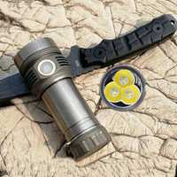 Titanium / Black AMUTORCH SST40 X9 XP-L HD 3600lm High Lumen USB Rechargeable 26650 Flashlight