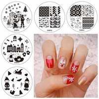 5pcs Christmas Nail Image Stamps Set Template Santa Claus Snowflake Children Glove Snowman House