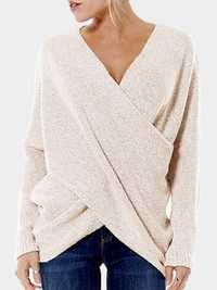 Sexy Women Cross V-neck Pullover Long Sleeve Sweaters