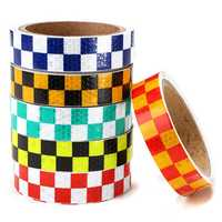25mm*5m Warning Caution Reflective Sticker Dual Color Chequer Roll Signal