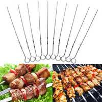 10pcs Stainless Steel BBQ Skewers Barbecue Kebab Meat Stick Needle