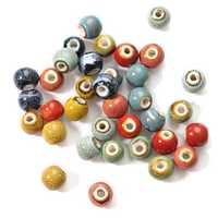 Retro Style 5Pcs 10mm Flower Glaze Beads Round DIY Spacer Loose Beads