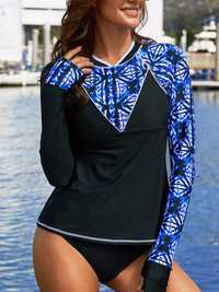 Long-Sleeved Sun Protection Round Neck Surf Clothing Tankini