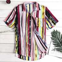 Mens Striped Casual Vacation Beach Shirts Plus Size