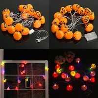 Battery Plug Powered 16 LEDs Pumpkin Multi-color Fairy String Lights For Halloween Christmas