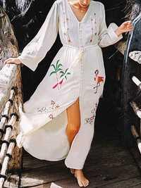 Women Button Down Long Sleeve Boho Maxi Dress