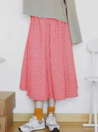 Women Casual Plaid High Elastic Waist Long A-line Skirts