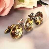 Mens Vintage Wheel Gear Pattern Shirts Cufflinks Nails Time Gem Glass Cufflinks