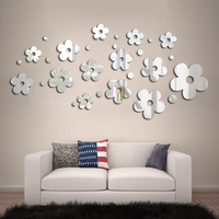 3D Plum Blossom Silver DIY Shape Mirror Wall Stickers Home Wall Bedroom Office Decor
