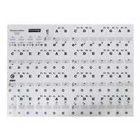 Music Keyboard Stickers & Piano Stickers 61 KEY SET Removable White Laminated Stickers