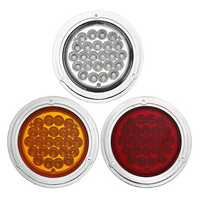 4Inch 24V Chrome 24LED Car Reverse Indicator Tail Light Lamp Round for Truck Trailer Boat