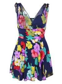 Cozy Flower Printing Double V Underwire Fold Sleeveless Breathable Mesh Swimdresses