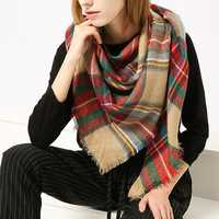 Women Plaid Winter Warm Tassels Scarf