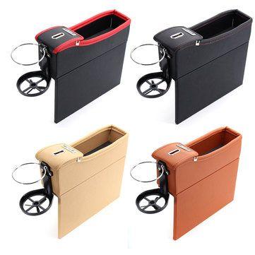 1 Pcs Black PU Car Auto Seat Storage Box Catcher Gap Filler Coin Collector Cup Holder