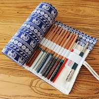 KCASA KC-PC01 Canvas Pencil Wrap Roll up Case 36 48 72 Pieces Pen Storage Pouch