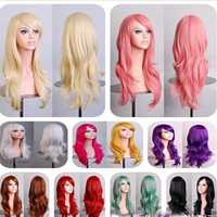 70cm Womens Long Anime Wigs Cosplay Party Curly Wavy Hair Full Wig