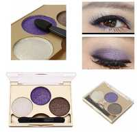3 Colors Smokey Eye Shadow Palette Kit Glitter Shimmer Eyeshadow Gold Eyes Makeup Set