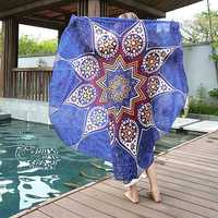 Women Round Yoga Mat Beach Printing Throw Towel Shawl Wall Hanging Tapestry