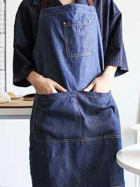 Women Pure Color Japanese Style Denim Apron Dress