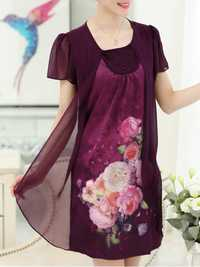 Floral Fake Two Pieces Elegant Chiffon Dress