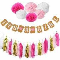 Boy Girl Baby Shower Set Banner Paper Pompom Tassel Garland Birthday Party Decorations