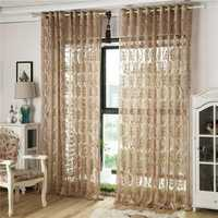 2 Panel jacquard Hollow out Voile Sheer Curtains Bedroom Living Room Window Screening