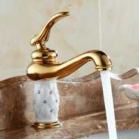 WANFAN 7301K Home Bathroom Luxurious Gold Diamond Cystal Single Handle Hot and Cold Water Basin Faucet