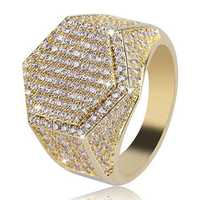 Gold Hip Hop Hexagon Finger Ring Micro Zircon Gemstone