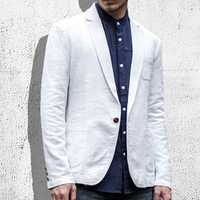 Mens Casual Slim Fit Flax Suits Solid Color One Button Suit Collar Coat