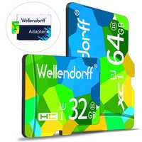 Wellendorff 4GB 8GB 16GB 32GB 64GB Class 10 High Speed TF Memory Card with Card Adapter