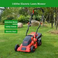 ESEN 1400W 1600W 10m Corded Electric Lawn Mower 9 Gallon Grass Trimmer Weeding Machine