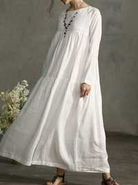 Plus Size Vintage Long Sleeve Pleated Maxi Cotton Dress