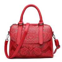 Women Faux Leather Vintage National Style Print Handbag