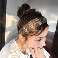 Womens Vogue Plaid Printting Headband Good Elastic