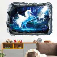 Miico Creative 3D Unicorn Broken Wall Removable Home Room Decorative Wall Decor Sticker
