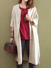 Women Vintage Buttons Solid Half Sleeve Coats Outwear
