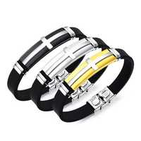 10mm Fashion Titanium Steel Cross Bracelet Men's Jewelry Wristband