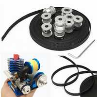 8pcs GT2 20T Bore 5mm Timing Pulley with 5m Belt and 2pcs Tensioner