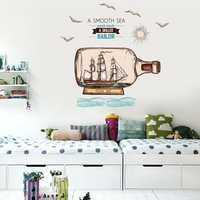 Miico Creative Cartoon Sea Drift Bottle Sailboat PVC Removable Home Room Decorative Wall Door Decor Sticker