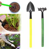 2pcs Mini Portable Metal Shovel Rake Hand Tool Kit Gardening Plastic Handle Planting Tools